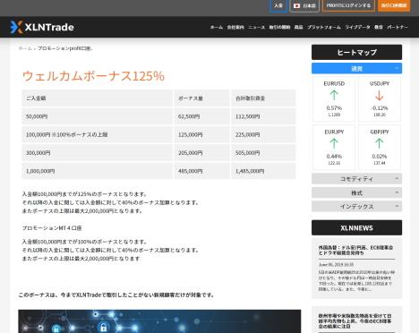 エクセレントトレード(XLNTRADE)125パーセント入金ボーナス実施中画像